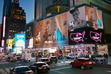 Azawi shines at New York and Los Angeles Times Square